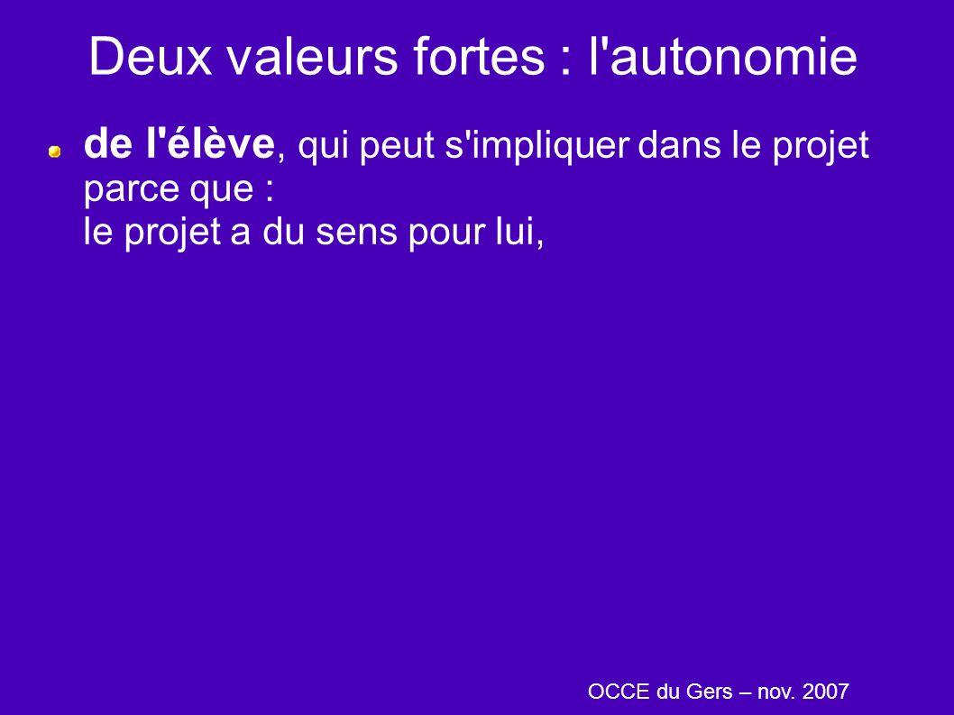 Deux valeurs fortes : l'autonomie de l'élève, qui peut s'impliquer dans le projet parce que : le projet a du sens pour lui, OCCE du Gers – nov. 2007