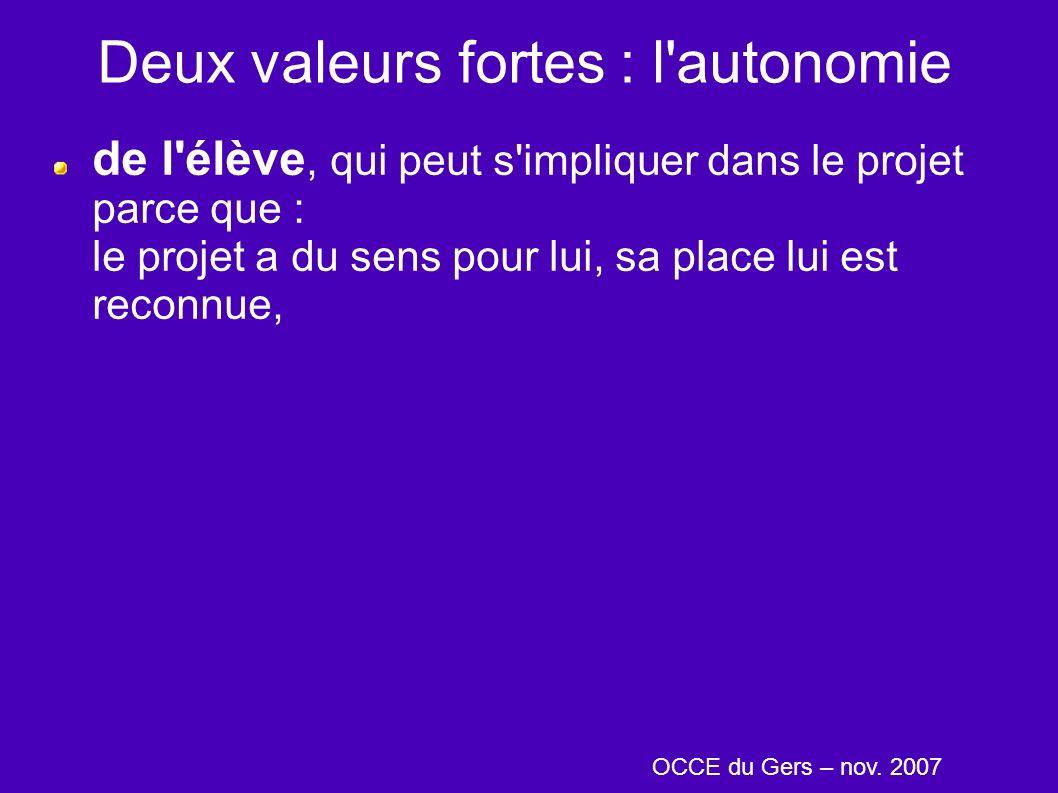 Deux valeurs fortes : l autonomie de l élève, qui peut s impliquer dans le projet parce que : le projet a du sens pour lui, sa place lui est reconnue, OCCE du Gers – nov.