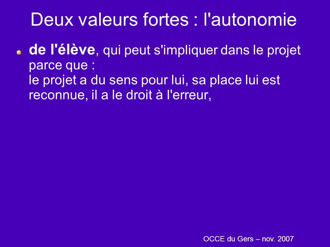 Deux valeurs fortes : l autonomie de l élève, qui peut s impliquer dans le projet parce que : le projet a du sens pour lui, sa place lui est reconnue, il a le droit à l erreur, OCCE du Gers – nov.