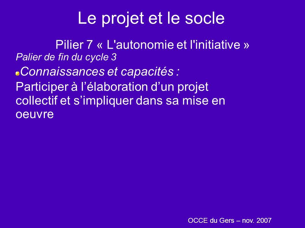 Le projet et le socle Pilier 7 « L'autonomie et l'initiative » Palier de fin du cycle 3 Connaissances et capacités : Participer à lélaboration dun pro