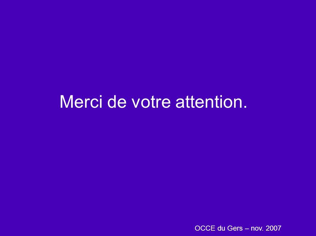 Merci de votre attention. OCCE du Gers – nov. 2007