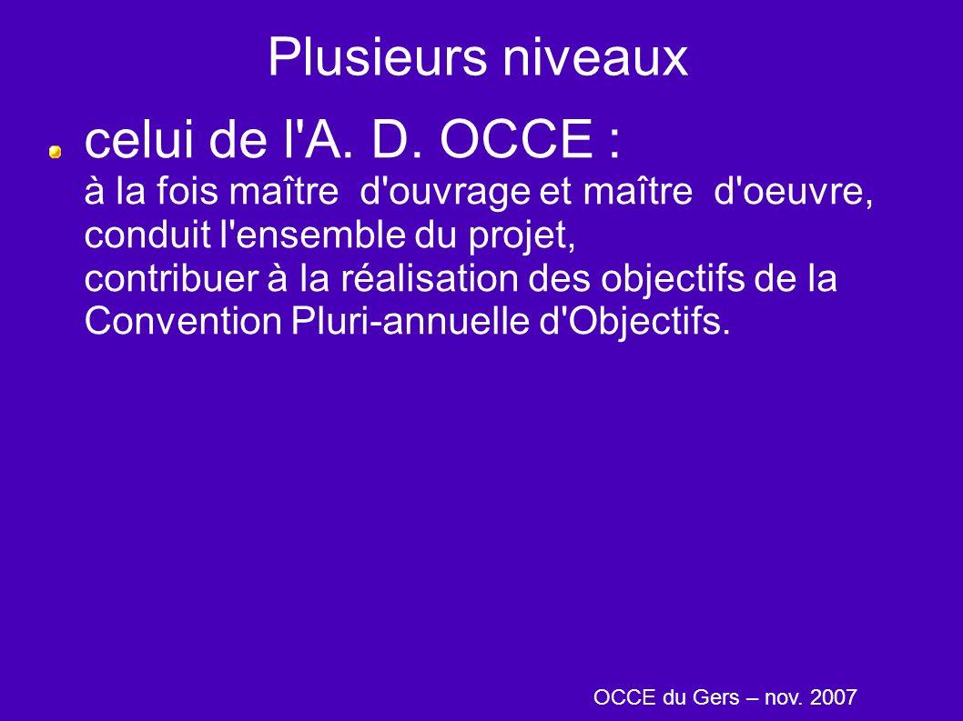 Plusieurs niveaux celui de l'A. D. OCCE : à la fois maître d'ouvrage et maître d'oeuvre, conduit l'ensemble du projet, contribuer à la réalisation des