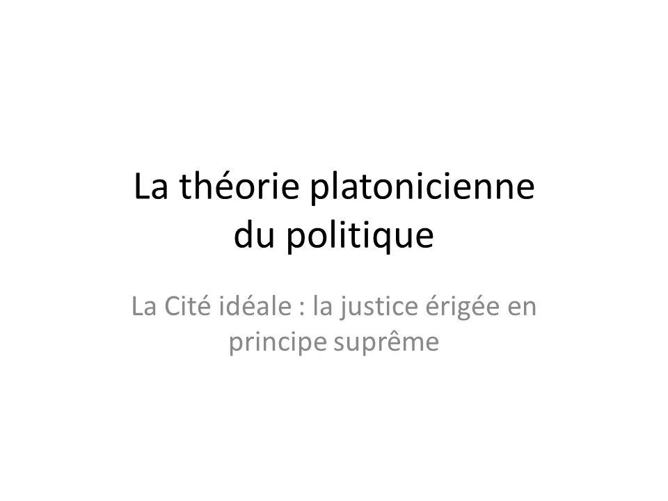 La théorie platonicienne du politique La Cité idéale : la justice érigée en principe suprême
