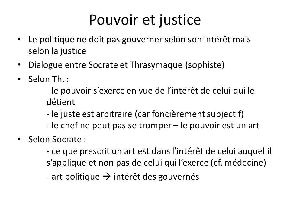 Pouvoir et justice Le politique ne doit pas gouverner selon son intérêt mais selon la justice Dialogue entre Socrate et Thrasymaque (sophiste) Selon T