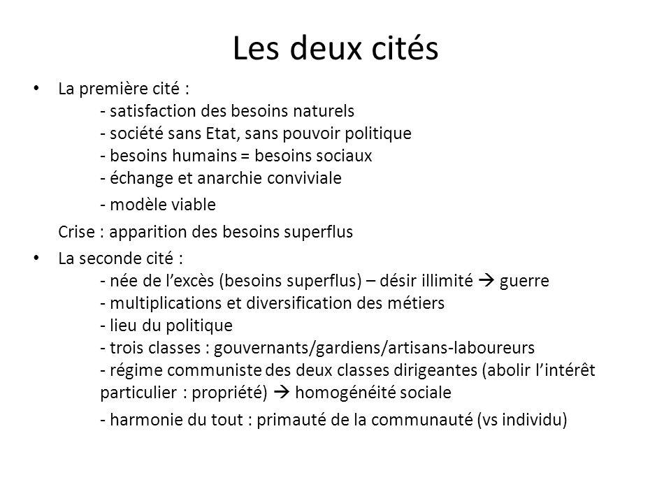 Les deux cités La première cité : - satisfaction des besoins naturels - société sans Etat, sans pouvoir politique - besoins humains = besoins sociaux