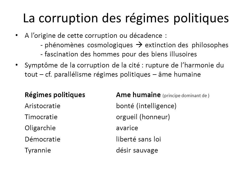 La corruption des régimes politiques A lorigine de cette corruption ou décadence : - phénomènes cosmologiques extinction des philosophes - fascination
