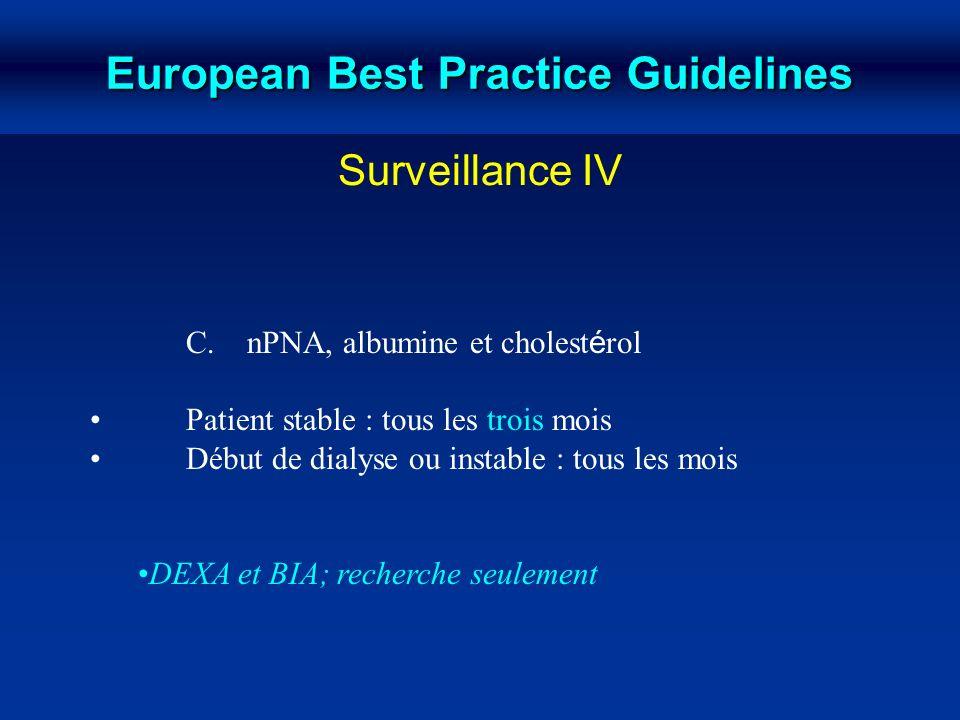 C. nPNA, albumine et cholest é rol Patient stable : tous les trois mois Début de dialyse ou instable : tous les mois DEXA et BIA; recherche seulement