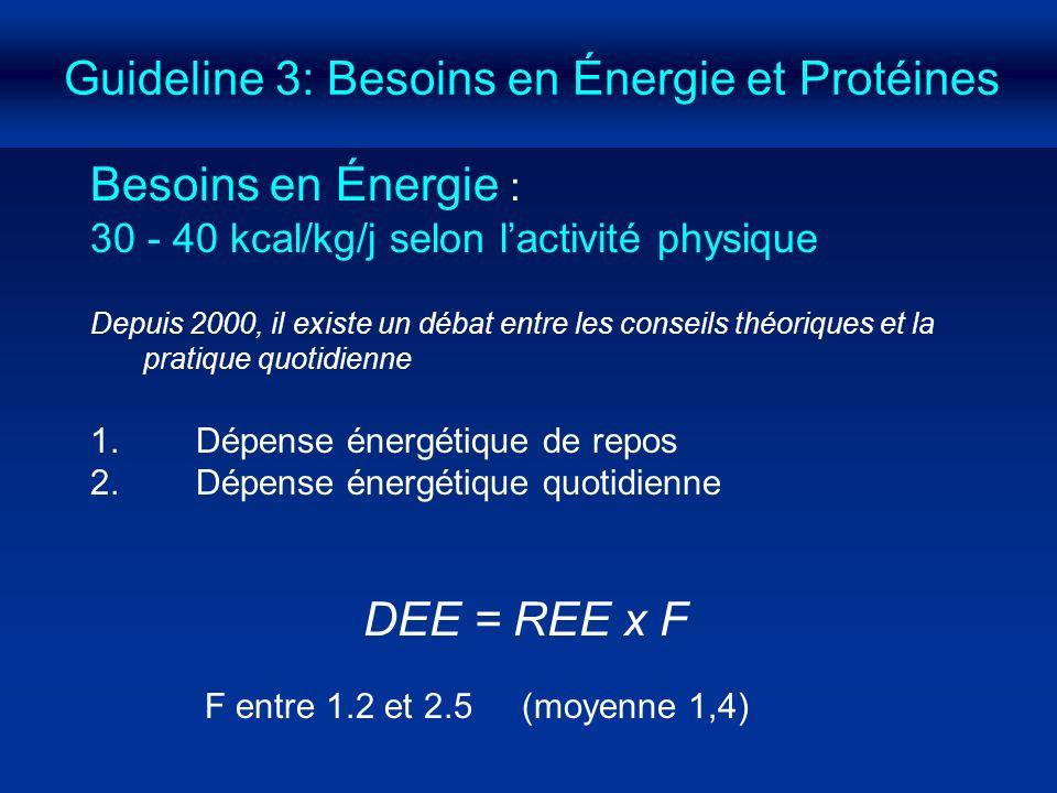 Guideline 3: Besoins en Énergie et Protéines Besoins en Énergie : 30 - 40 kcal/kg/j selon lactivité physique Depuis 2000, il existe un débat entre les