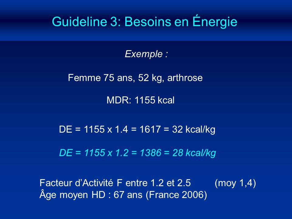 Guideline 3: Besoins en Énergie DE = 1155 x 1.4 = 1617 = 32 kcal/kg DE = 1155 x 1.2 = 1386 = 28 kcal/kg Exemple : Femme 75 ans, 52 kg, arthrose MDR: 1