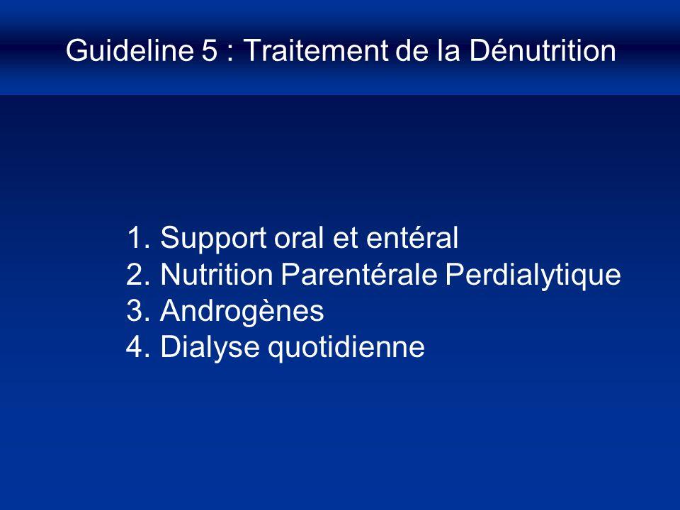 Guideline 5 : Traitement de la Dénutrition 1.Support oral et entéral 2.Nutrition Parentérale Perdialytique 3.Androgènes 4.Dialyse quotidienne