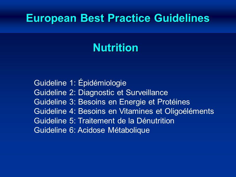 European Best Practice Guidelines Nutrition Guideline 1: Épidémiologie Guideline 2: Diagnostic et Surveillance Guideline 3: Besoins en Energie et Prot