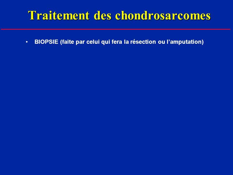 Traitement des chondrosarcomes BIOPSIE (faite par celui qui fera la résection ou lamputation)