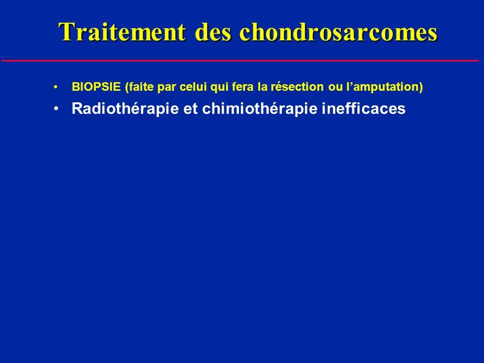 Traitement des chondrosarcomes BIOPSIE (faite par celui qui fera la résection ou lamputation) Radiothérapie et chimiothérapie inefficaces