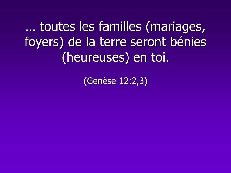 … toutes les familles (mariages, foyers) de la terre seront bénies (heureuses) en toi. (Genèse 12:2,3)