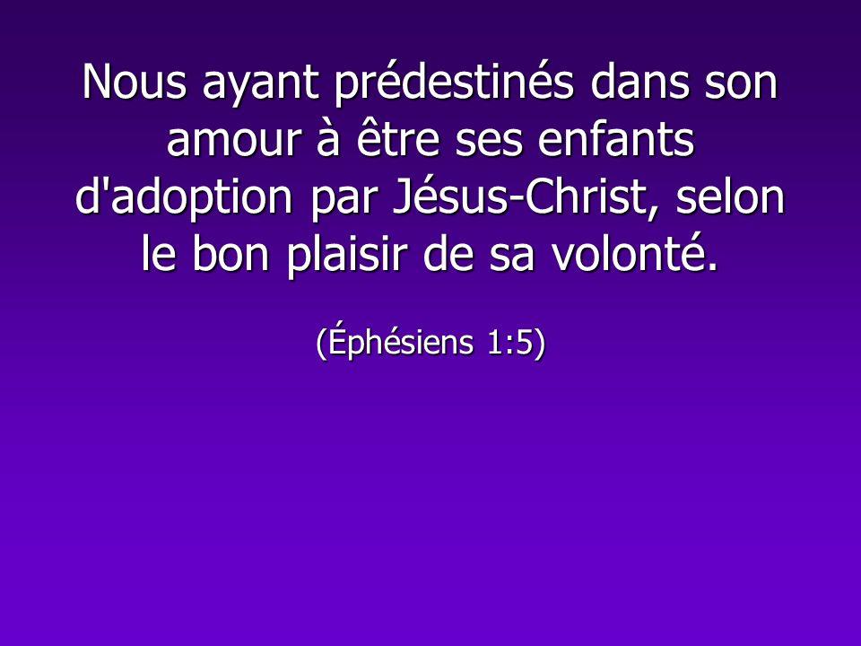 Nous ayant prédestinés dans son amour à être ses enfants d'adoption par Jésus-Christ, selon le bon plaisir de sa volonté. (Éphésiens 1:5)
