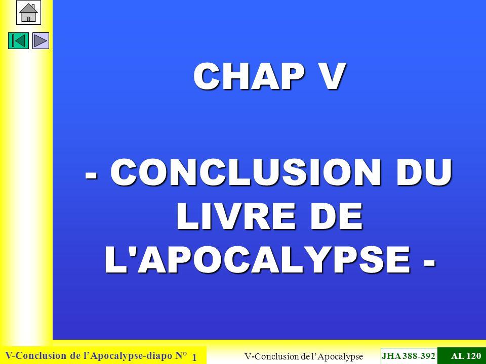 V-Conclusion de lApocalypse-diapo N° 1 CHAP V - CONCLUSION DU LIVRE DE L'APOCALYPSE - - CONCLUSION DU LIVRE DE L'APOCALYPSE - V-Conclusion de lApocaly