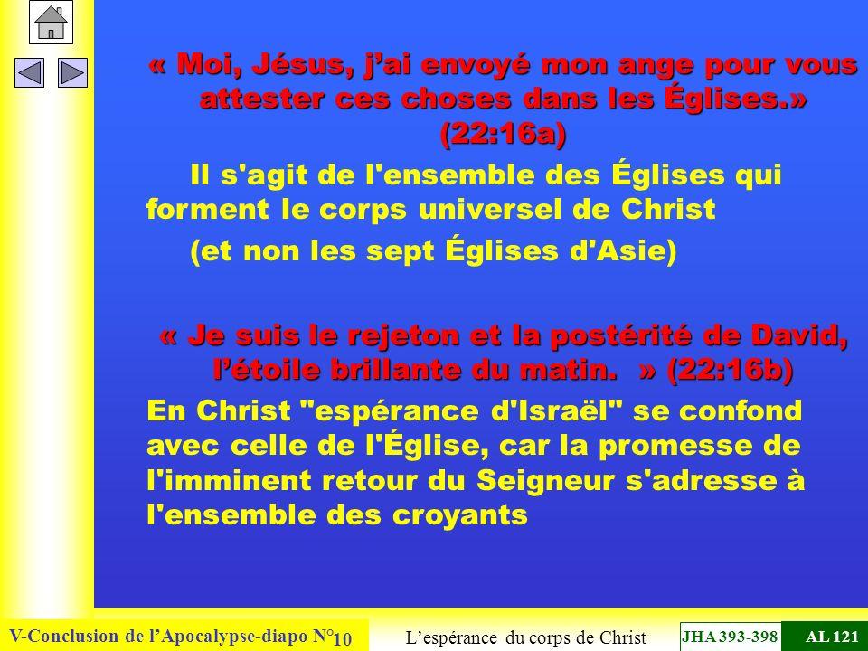 V-Conclusion de lApocalypse-diapo N° 10 « Moi, Jésus, jai envoyé mon ange pour vous attester ces choses dans les Églises.» (22:16a) Il s'agit de l'ens