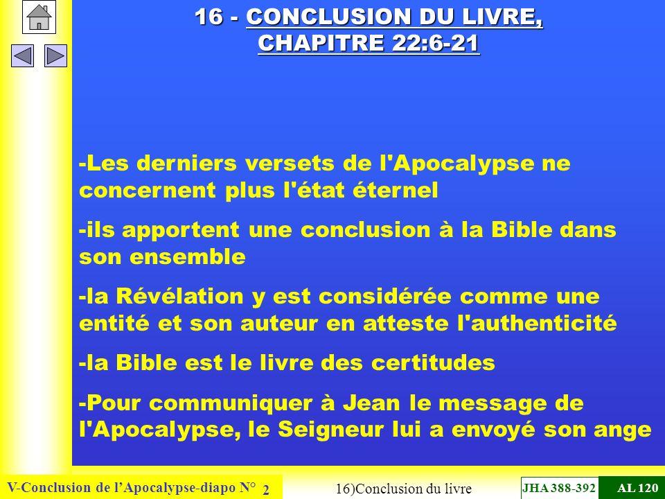 V-Conclusion de lApocalypse-diapo N° 2 16 - CONCLUSION DU LIVRE, CHAPITRE 22:6-21 -Les derniers versets de l Apocalypse ne concernent plus l état éternel -ils apportent une conclusion à la Bible dans son ensemble -la Révélation y est considérée comme une entité et son auteur en atteste l authenticité -la Bible est le livre des certitudes -Pour communiquer à Jean le message de l Apocalypse, le Seigneur lui a envoyé son ange 16)Conclusion du livre JHA 388-392AL 120