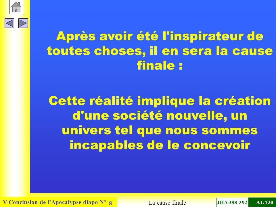 V-Conclusion de lApocalypse-diapo N° 8 Après avoir été l inspirateur de toutes choses, il en sera la cause finale : Cette réalité implique la création d une société nouvelle, un univers tel que nous sommes incapables de le concevoir La cause finale JHA 388-392AL 120