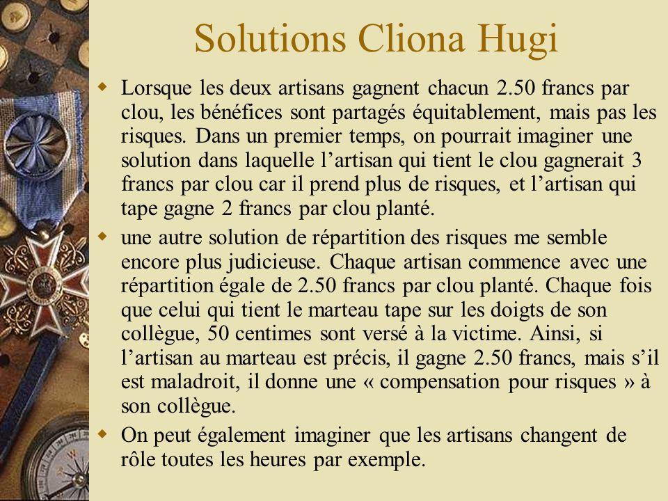 Solutions Cliona Hugi Lorsque les deux artisans gagnent chacun 2.50 francs par clou, les bénéfices sont partagés équitablement, mais pas les risques.
