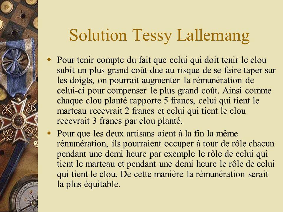 Solution Tessy Lallemang Pour tenir compte du fait que celui qui doit tenir le clou subit un plus grand coût due au risque de se faire taper sur les d