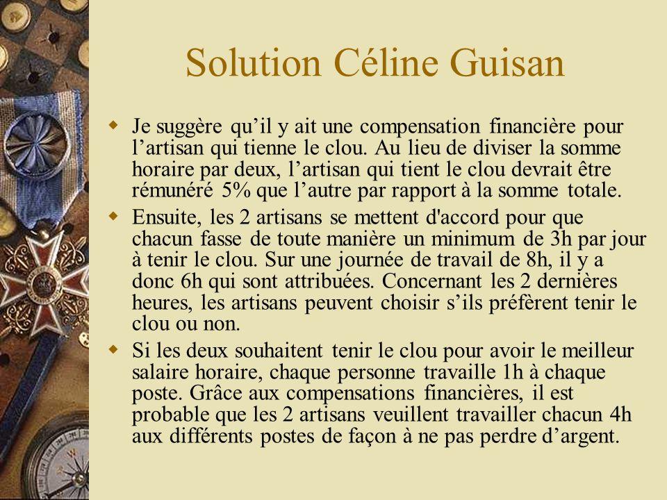 Solution Céline Guisan Je suggère quil y ait une compensation financière pour lartisan qui tienne le clou. Au lieu de diviser la somme horaire par deu