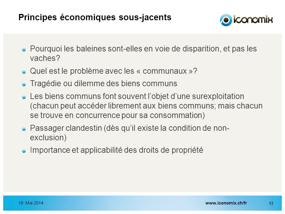 www.iconomix.ch/fr 13 19. Mai 2014 Principes économiques sous-jacents Pourquoi les baleines sont-elles en voie de disparition, et pas les vaches? Quel