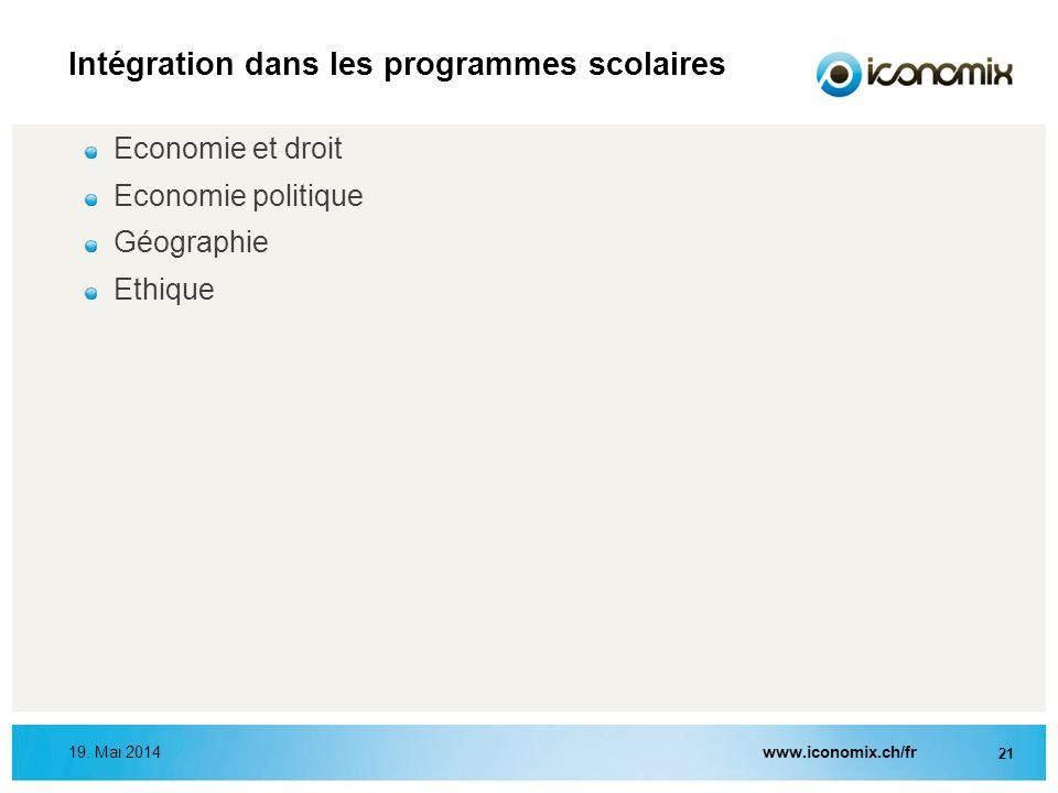 Intégration dans les programmes scolaires 19. Mai 2014www.iconomix.ch/fr 21 Economie et droit Economie politique Géographie Ethique