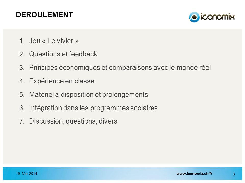 1. Jeu « Le vivier » 2. Questions et feedback 3. Principes économiques et comparaisons avec le monde réel 4. Expérience en classe 5. Matériel à dispos