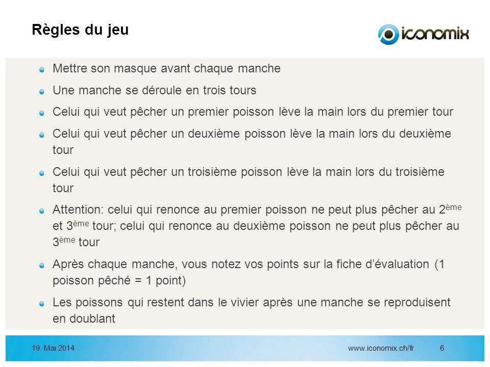 www.iconomix.ch/fr619. Mai 2014 Règles du jeu Mettre son masque avant chaque manche Une manche se déroule en trois tours Celui qui veut pêcher un prem