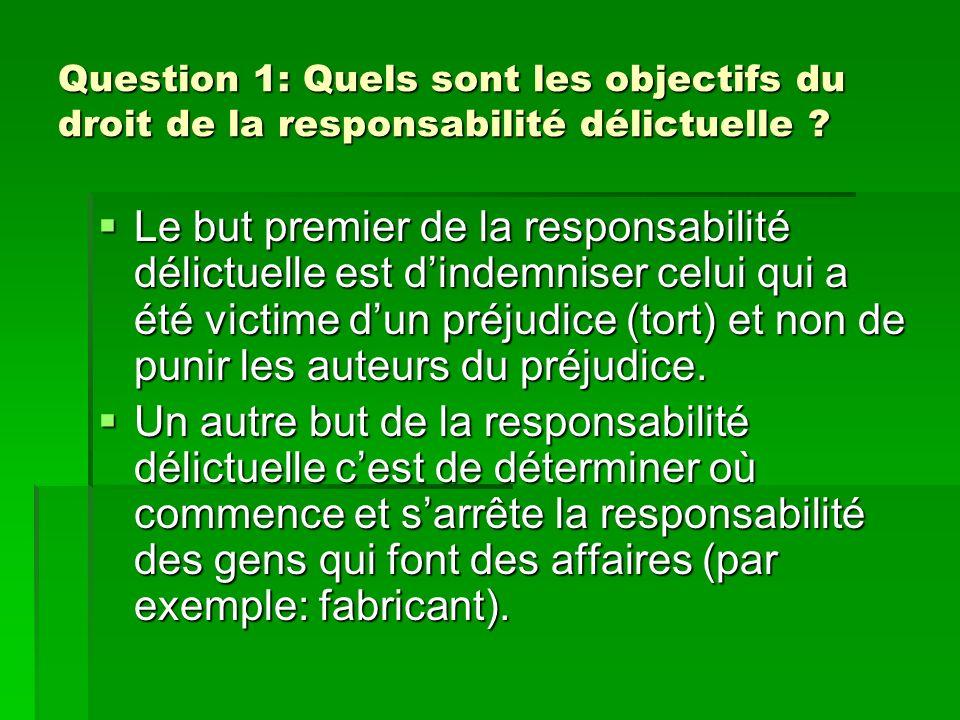 Question 1: Quels sont les objectifs du droit de la responsabilité délictuelle ? Le but premier de la responsabilité délictuelle est dindemniser celui