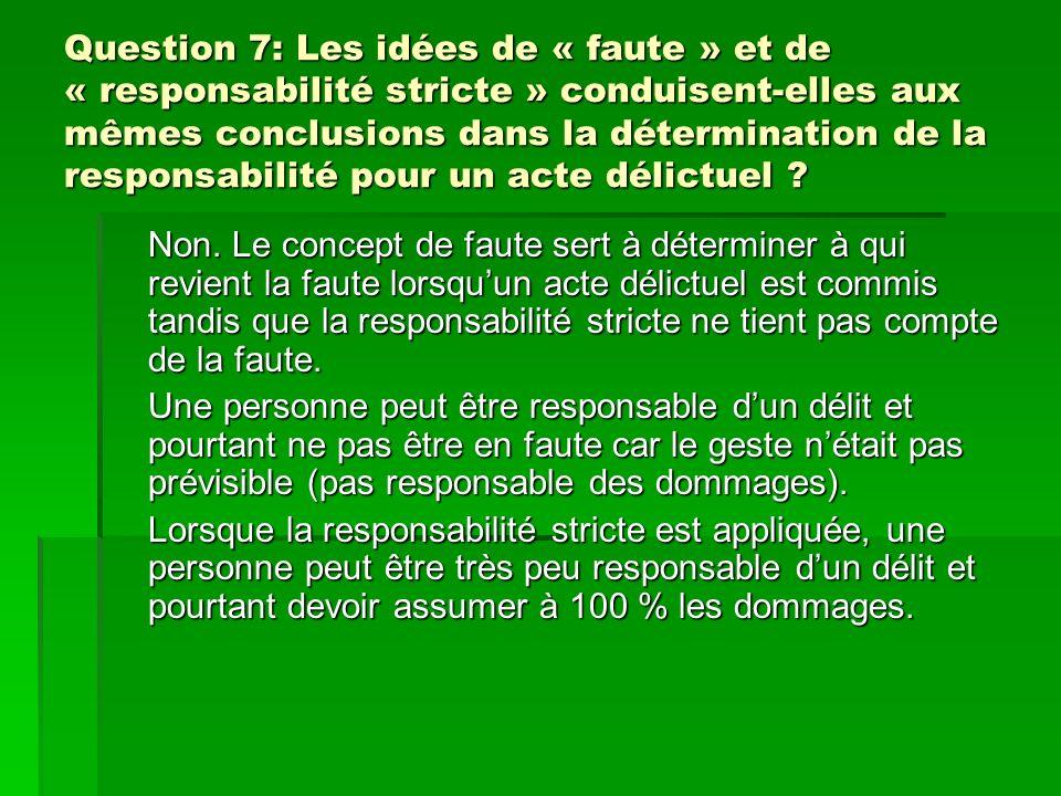 Question 7: Les idées de « faute » et de « responsabilité stricte » conduisent-elles aux mêmes conclusions dans la détermination de la responsabilité