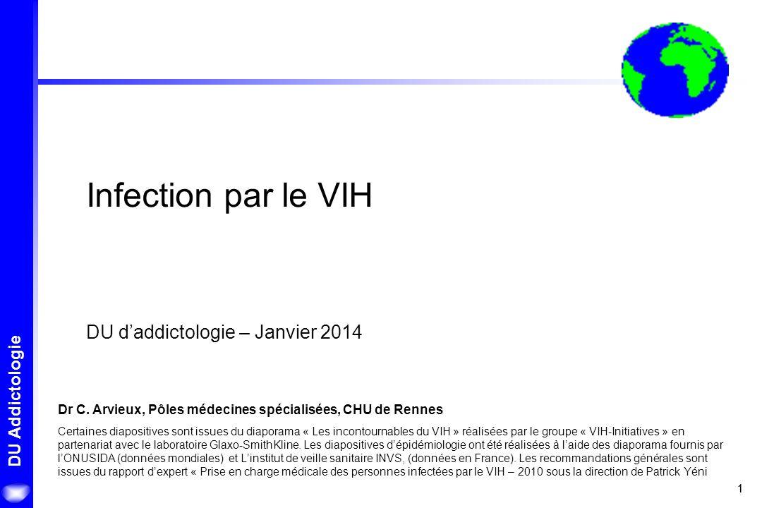 11 DU Addictologie Infection par le VIH DU daddictologie – Janvier 2014 Dr C. Arvieux, Pôles médecines spécialisées, CHU de Rennes Certaines diapositi