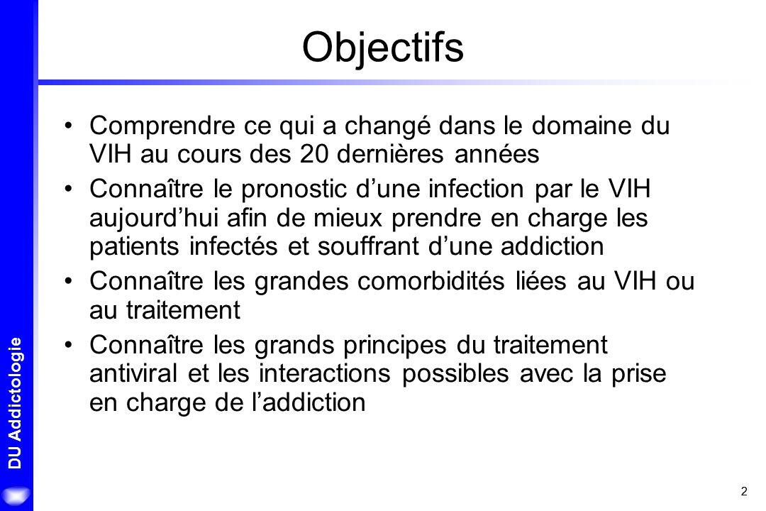 22 DU Addictologie Objectifs Comprendre ce qui a changé dans le domaine du VIH au cours des 20 dernières années Connaître le pronostic dune infection
