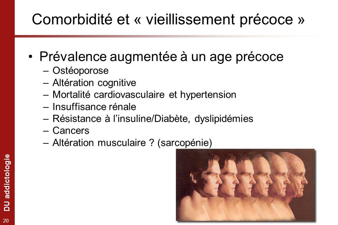 DU addictologie 20 Comorbidité et « vieillissement précoce » Prévalence augmentée à un age précoce –Ostéoporose –Altération cognitive –Mortalité cardi