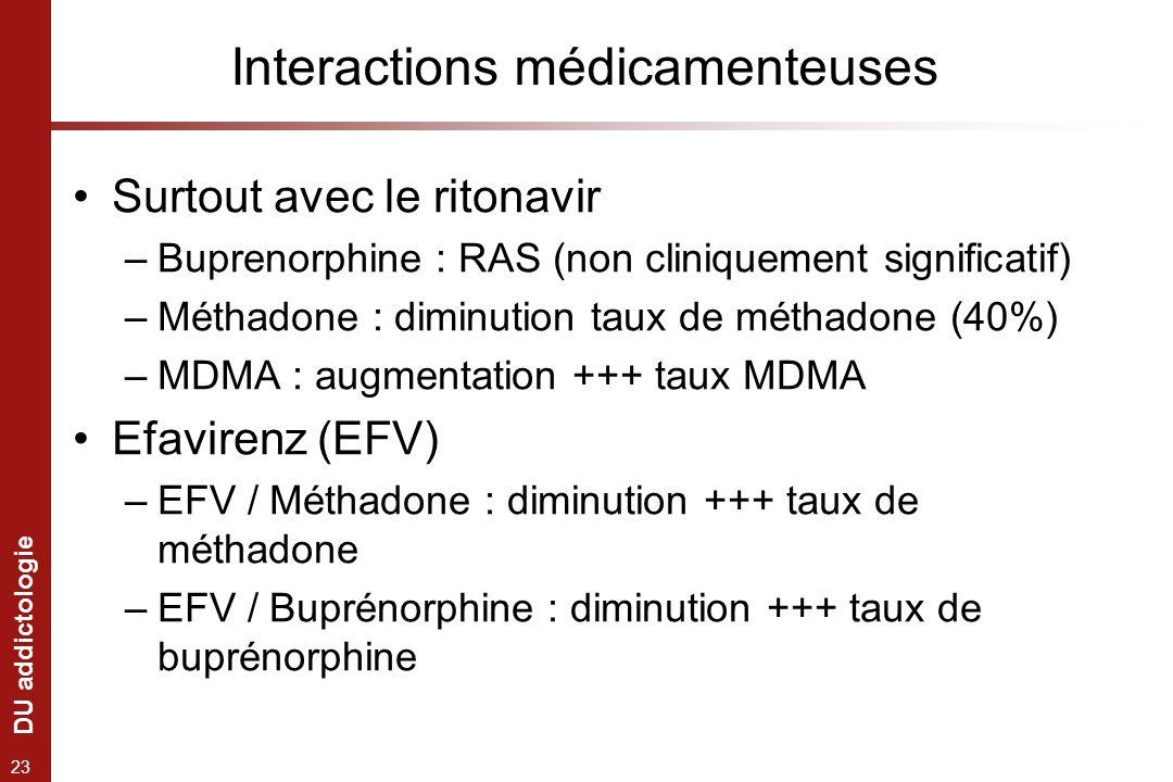 DU addictologie 23 Interactions médicamenteuses Surtout avec le ritonavir –Buprenorphine : RAS (non cliniquement significatif) –Méthadone : diminution