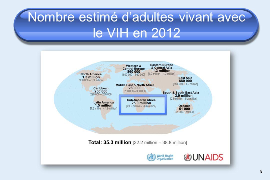 8 Nombre estimé dadultes vivant avec le VIH en 2012