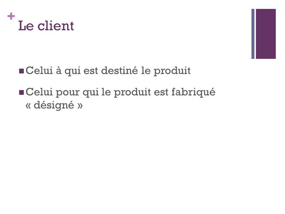 + Le client Celui à qui est destiné le produit Celui pour qui le produit est fabriqué « désigné »