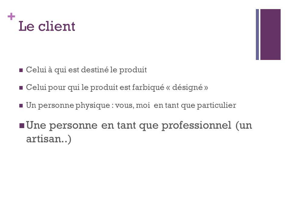 + Le client Celui à qui est destiné le produit Celui pour qui le produit est farbiqué « désigné » Un personne physique : vous, moi en tant que particu