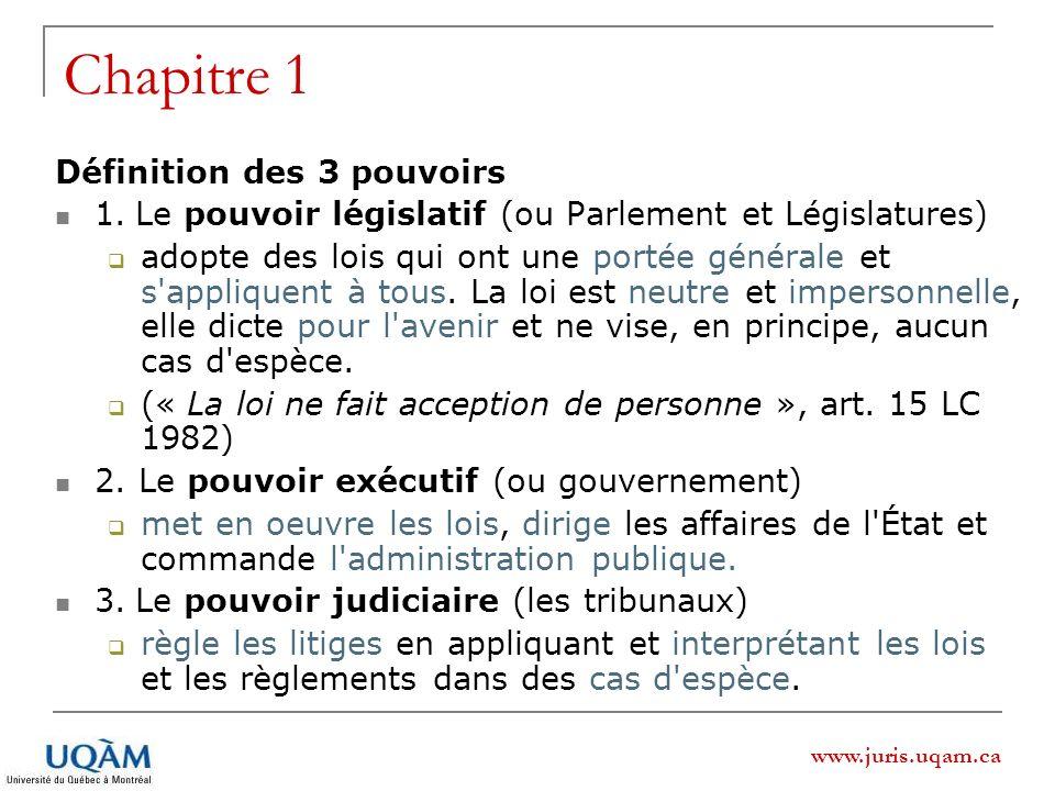 www.juris.uqam.ca Chapitre 1 : La séparation des pouvoirs Origine: Montesquieu, 1748 [...] La liberté politique ne se trouve que dans les gouvernements modérés.