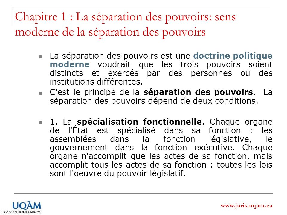 www.juris.uqam.ca Chapitre 1 : La séparation des pouvoirs sens moderne de la séparation des pouvoirs 2.