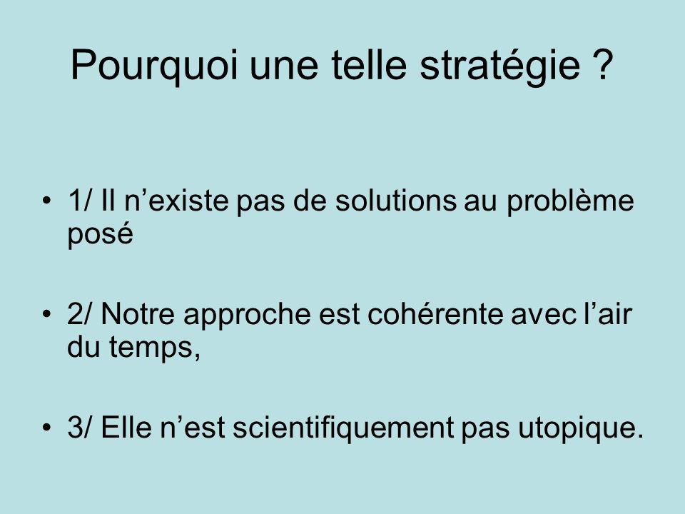 Pourquoi une telle stratégie ? 1/ Il nexiste pas de solutions au problème posé 2/ Notre approche est cohérente avec lair du temps, 3/ Elle nest scient