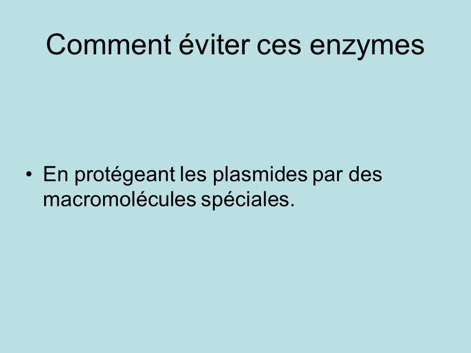 Comment éviter ces enzymes En protégeant les plasmides par des macromolécules spéciales.