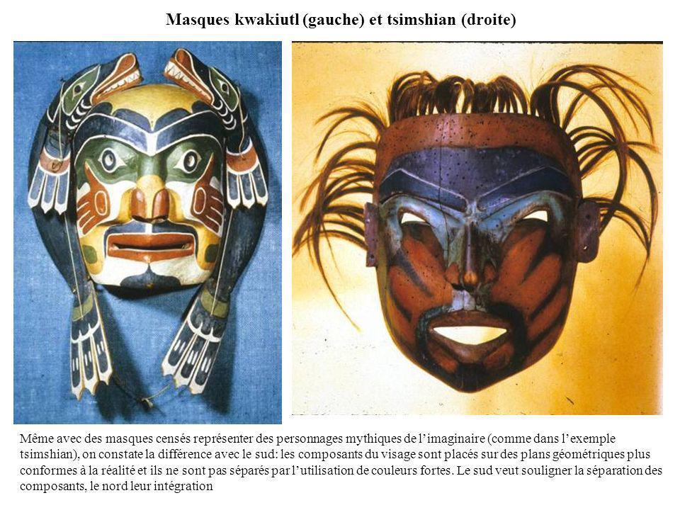 Masques kwakiutl (gauche) et tsimshian (droite) Même avec des masques censés représenter des personnages mythiques de limaginaire (comme dans lexemple
