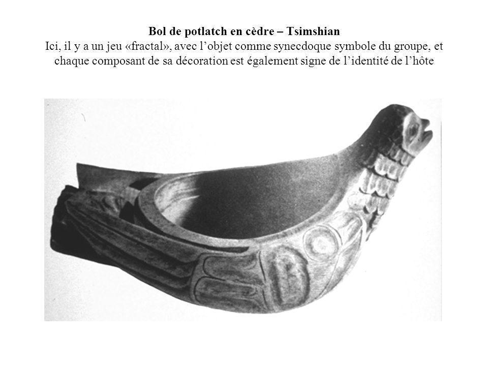 Bol de potlatch en cèdre – Tsimshian Ici, il y a un jeu «fractal», avec lobjet comme synecdoque symbole du groupe, et chaque composant de sa décoratio
