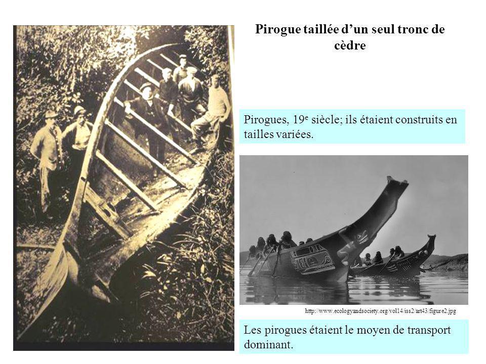 Pirogue taillée dun seul tronc de cèdre Les pirogues étaient le moyen de transport dominant. http://www.ecologyandsociety.org/vol14/iss2/art43/figure2