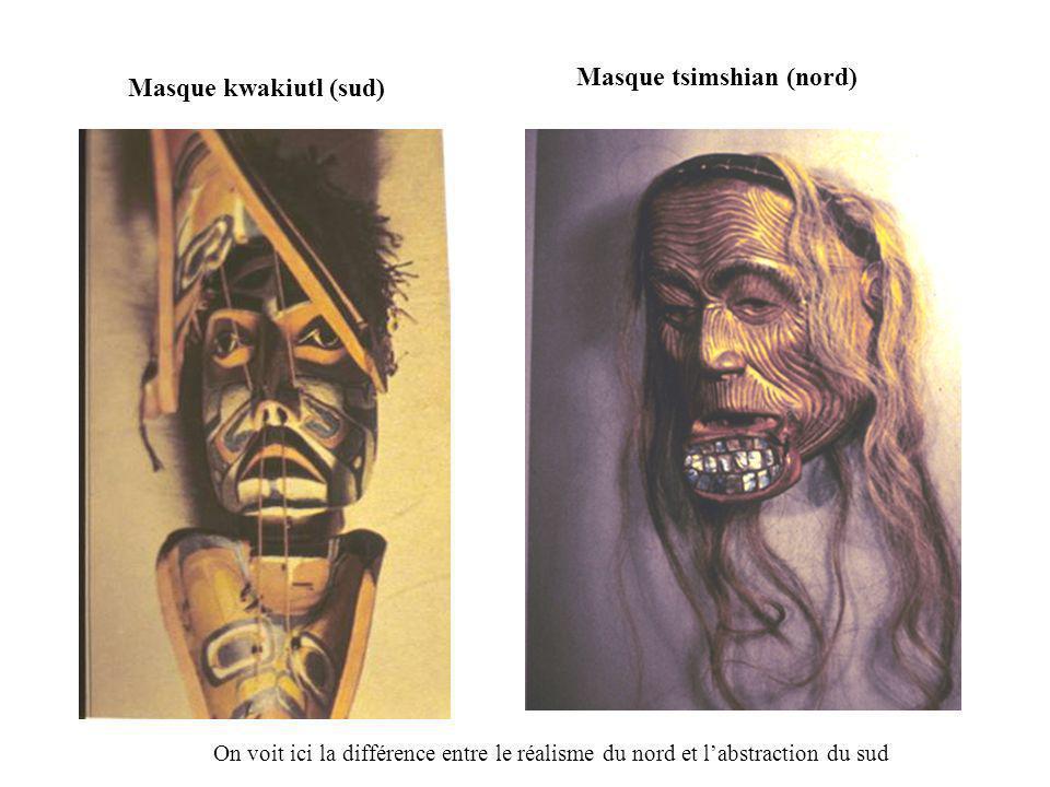 Masque kwakiutl (sud) Masque tsimshian (nord) On voit ici la différence entre le réalisme du nord et labstraction du sud