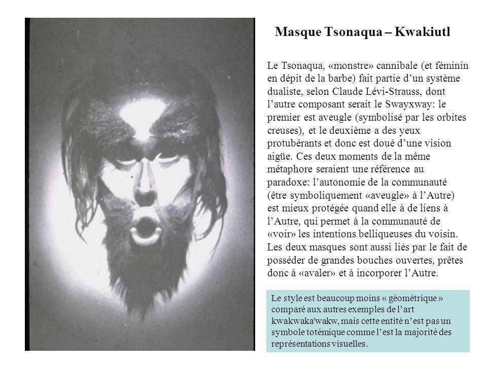 Masque Tsonaqua – Kwakiutl Le Tsonaqua, «monstre» cannibale (et féminin en dépit de la barbe) fait partie dun système dualiste, selon Claude Lévi-Stra