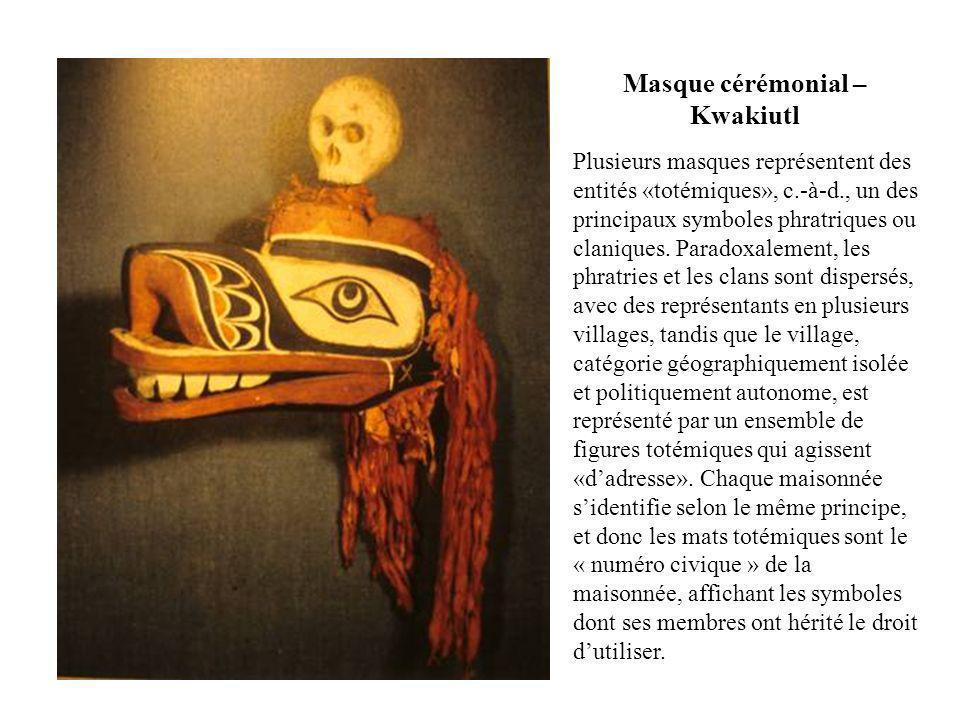 Masque cérémonial – Kwakiutl Plusieurs masques représentent des entités «totémiques», c.-à-d., un des principaux symboles phratriques ou claniques. Pa