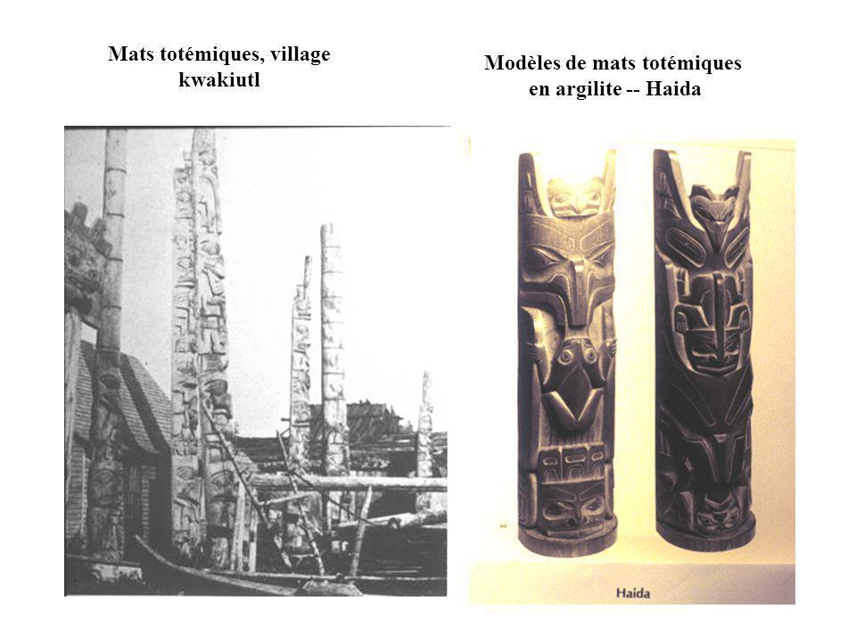 Mats totémiques, village kwakiutl Modèles de mats totémiques en argilite -- Haida